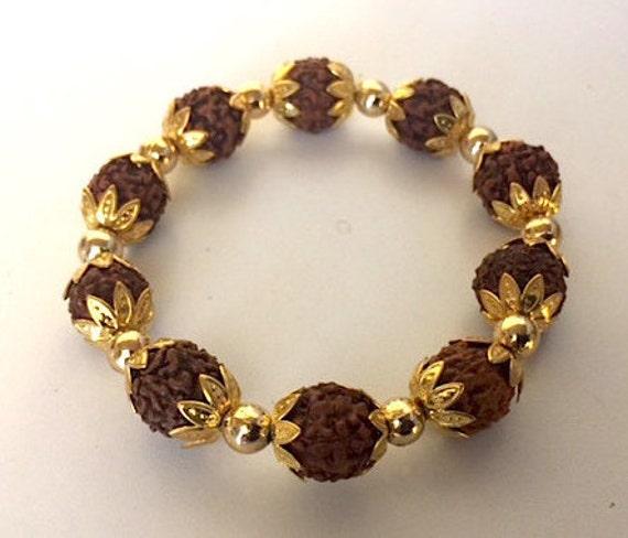 Cyber Monday Sale Rudraksha beads, Rudraksh, Elastic Wrist bracelet, Mala Beads, Healing Bracelet - Blessed & Energized