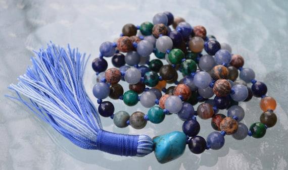 108 Throat Chakra Balancing Mala Beads Necklace Bohemian Meditation Ultimate Most Powerful Knotted Prayer beads Bracelet Yoga Gift Turquoise