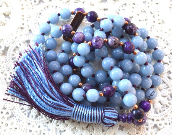 8 mm Genuine knotted Blue Angelite and Lepidolite Mala Beads Necklace, Angels Stone, Spiritual & Psychic growth, enhanced intuition, communi
