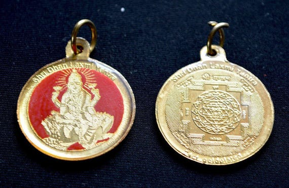 Sri Shri Maha Laxmi Lakshmi Yantra Kavach Amulet - Energized Engraved Hihg Quality Laminated Yantra For Enormous wealth and good fortune