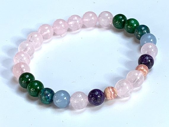 Emotional Trauma Support Crystal Healing Bracelet Opal Rhodochrosite Green Aventurine Black Tourmaline Recovery Crystals Self love Calming