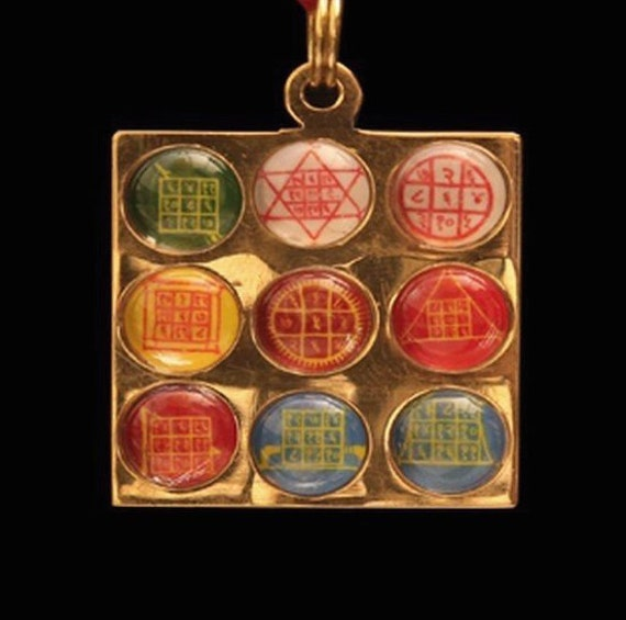 Energized Sri Shri Navgrah Navagraha Shakti Yantra Amulet Pendant Nine Planet Yantram 9 in 1 - For removing ill effects of planets