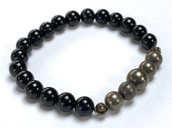 Empath Protection Pyrite Black Tourmaline Mala Bead Bracelet Aura and Negative Energy Protection Reiki Jewelry Healing Crystals EMF Jewelry