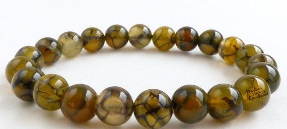 8mm Green Agate Dragon Vein Mala Bead bracelet Buddhist Prayer Beads bracelet Gemstone Mala - Energized for Spiritual Awakening