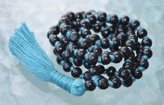 Blue and Black Wooden Beads Hand Knotted Mala Necklace - Blessed Karma Nirvana Meditation 8mm Prayer Bead For Awakening Chakra Kundalini