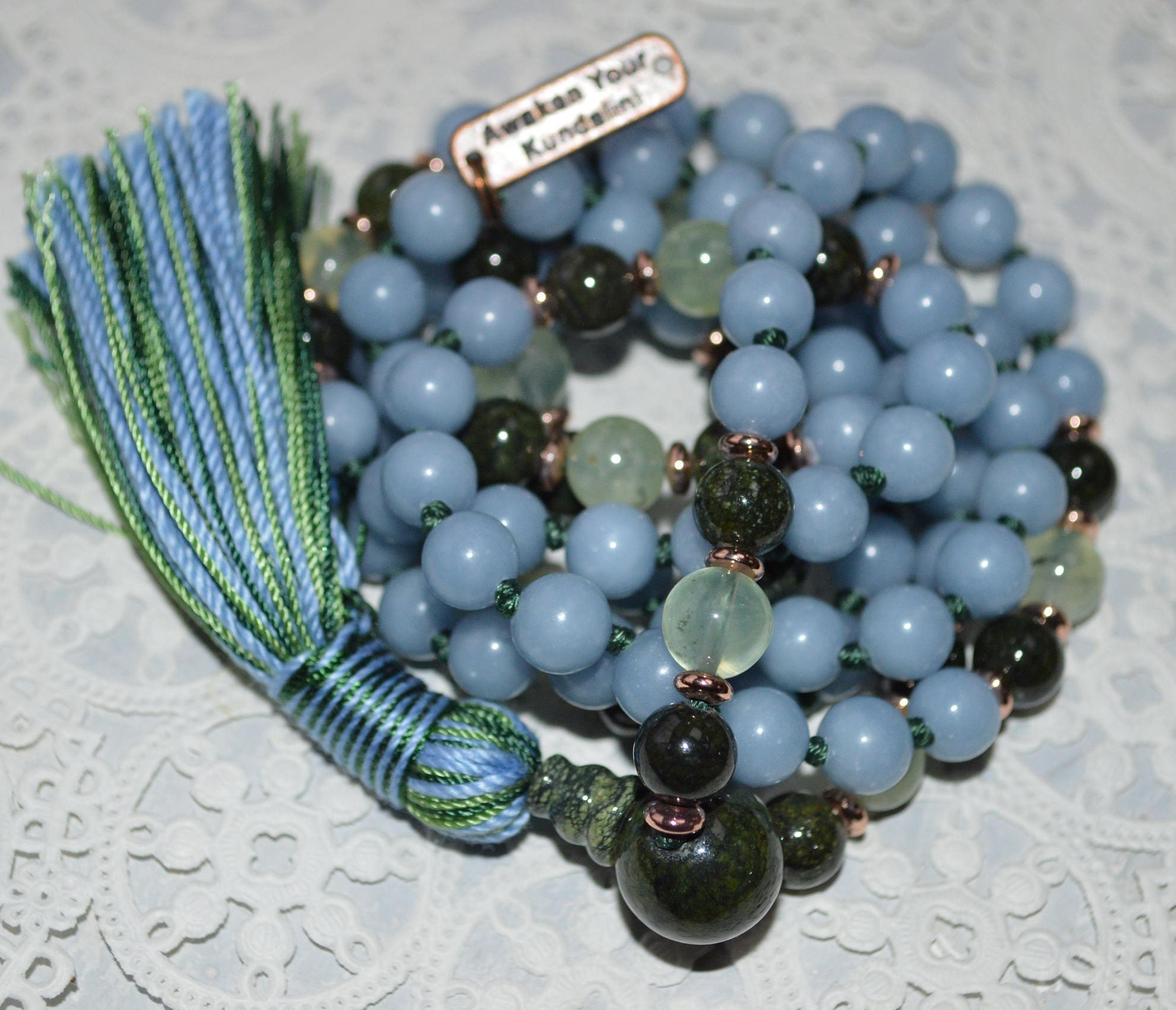 8 mm Blue Angelite, Serpentine Prehnite Knotted Mala Beads Necklace