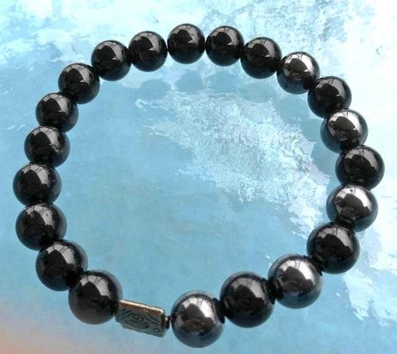 Tourmaline Hematite mala bracelet men bracelet mens jewelry birthday gifts for boyfriend gifts for husband gift men gift for dad him friend