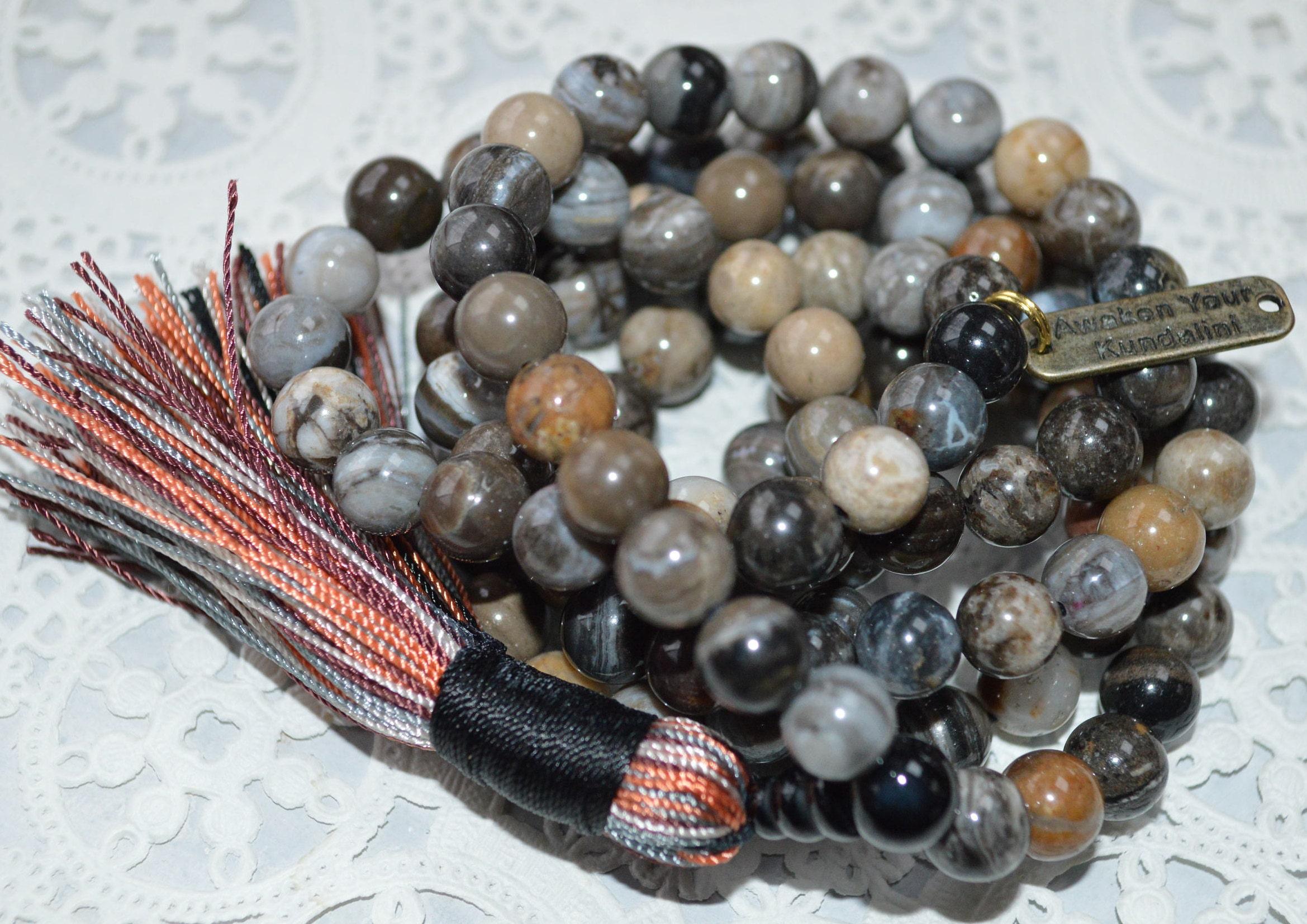 Petrified Wood Yoga Jewelry,Buddhist Rosary Knotted Gemstone Kundalini Mala beads AAA Grade 8 mm Petrified Wood Prayer beads 108 Mala beads