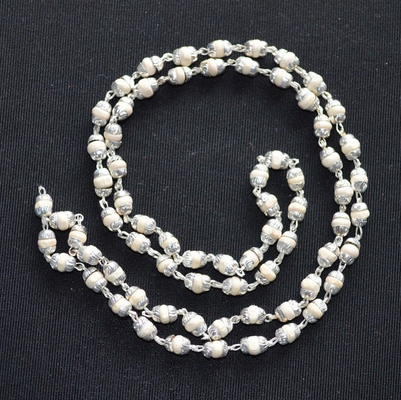 Natural Tulsi silver mala beads beaded necklace natural wooden necklace    holy basil necklace    spiritual necklace     US seller
