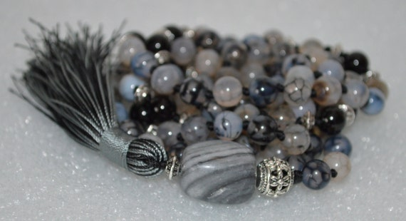 108 Black Tourmaline Dragon Vein Agate 8mm Mala Necklace - deflecting radiation, increases stamina, aids in acceping ones fate manifestation