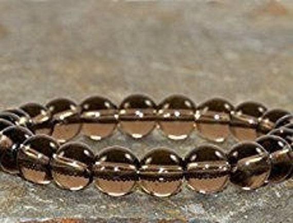 unisex Smokey quartz wrist mala bracelet namaste yoga gifts for mom gifts for men gift for husband gift for dad gift for wife birthday gifts