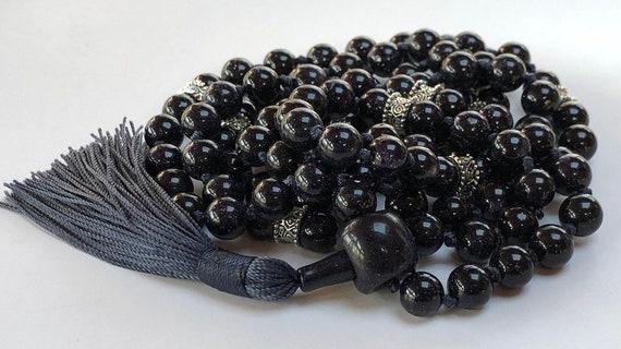 8mm Blue Goldstone Sandstone Onyx Prayer Beads HandMade Japa Mala - Karma Nirvana Meditation Awakening Chakra Kundalini Rosary 108+1 Beads