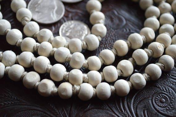 Cyber Monday Sale Calming Om Holy Basil Tulsi Hand Knotted Japa Mala 8mm 108 Prayer Beads Necklace - Nirvana Meditation Rosary For Awakeni