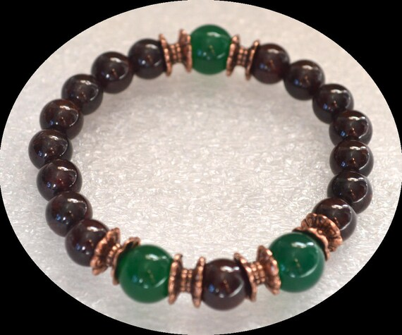 unisex garnet green jade gemstone bracelet beaded stretch wish seed bead birthstone bracelets charm bracelet men mens bracelet for women men