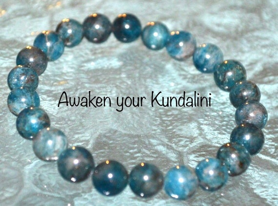 Genuine Blue Apatite Bracelet, Mens Blue Stretch Bracelet Helps to Loose Weight, Spirituality, Stimulates Creativity Emotional Tranquility