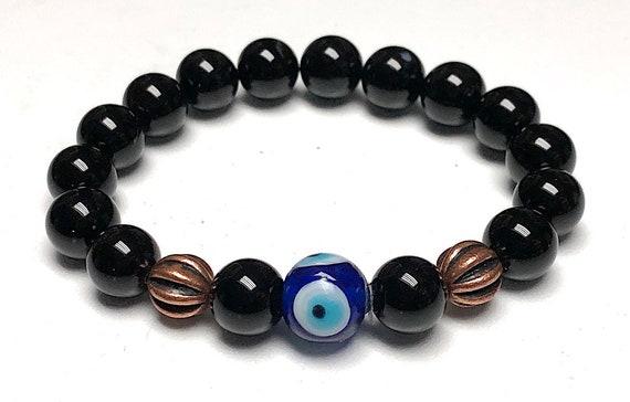 Black Tourmaline bracelet Evil Eye minimalist gemstone mala bracelet black crystal bracelet for women black tourmaline jewelry bracelet gift
