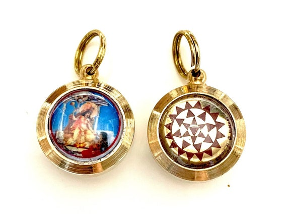 """Sri Shri Baglamukhi Sahkti (Power) Yantra amulet pendant Approx. 1.25"""" In For Victory over Enemies, Winning Lawsuits, Protection and Power."""