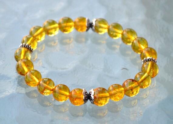 Energized Citrine Beaded Bracelet Sterling Silver citrine bracelet natural AAA citrine untreated unheated healing bracelet raw citrine stone