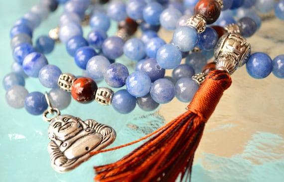 Blue Aventurine Tiger Eye w/ Buddha Charm Handmade Mala Beads Necklace -Energized Karma Nirvana Meditation 8mm Prayer Bead For Enlightenment
