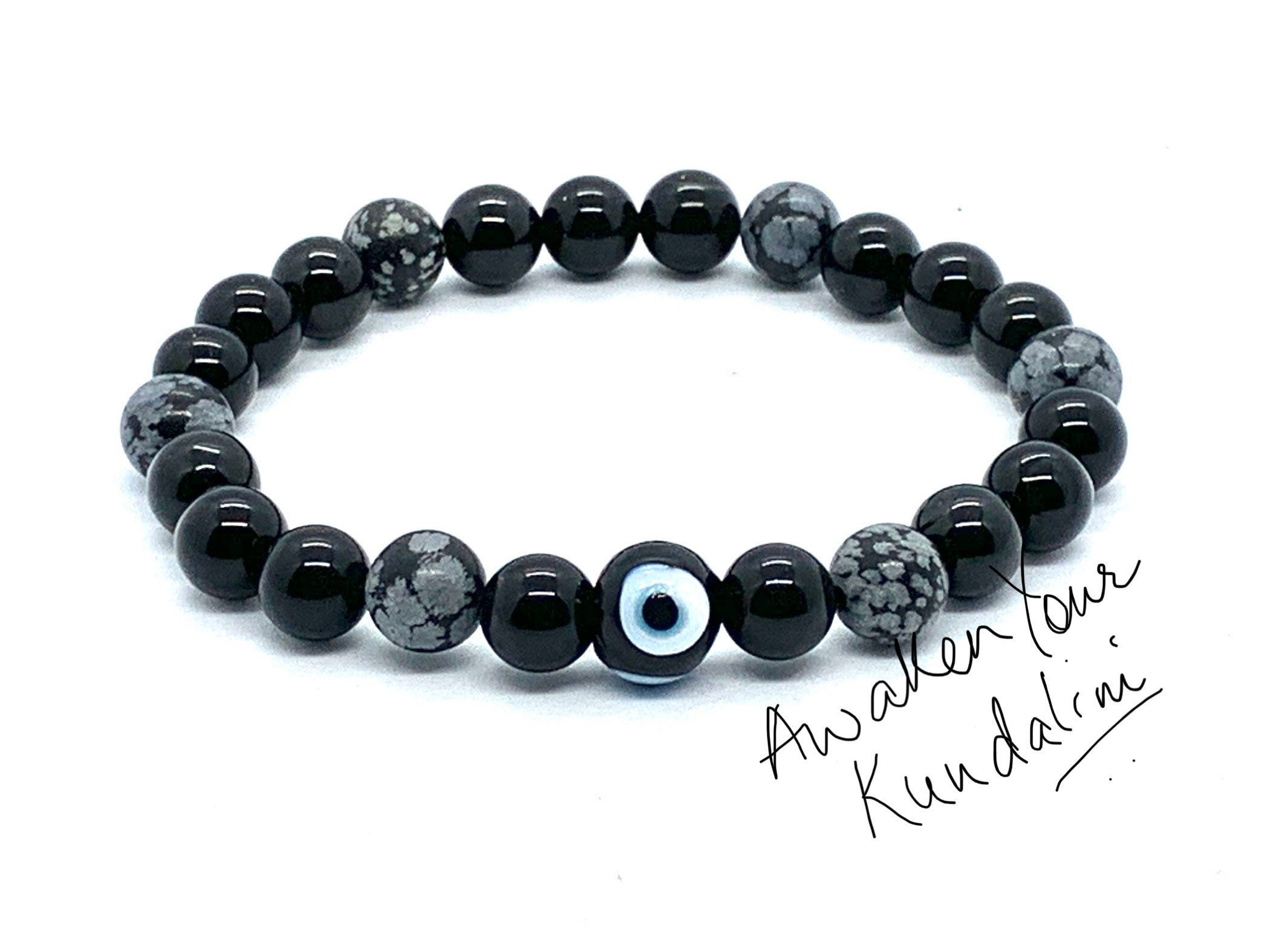Purity and Protection Bracelet Snowflake Obsidian and Lava Stone Bracelet