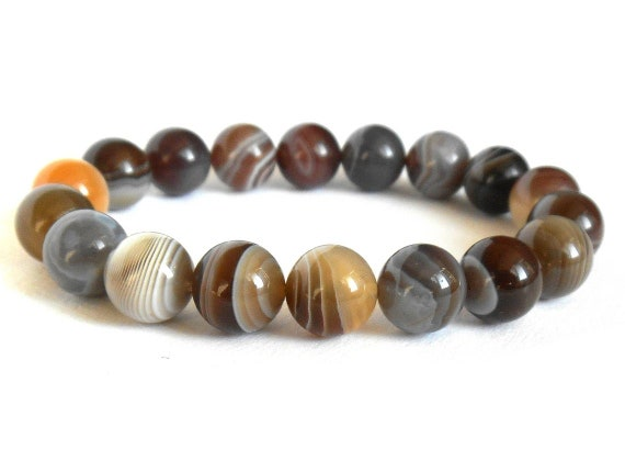 Unique Botswana Agate Bracelet, Floral Detailed Agate, Boho Style, One of a Kind Artisan, Striped Agate Bracelet, Gemstone Bracelet
