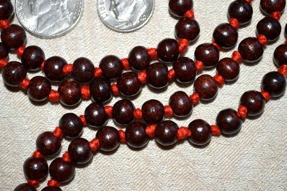 Red Tulsi Holy Basil Hand Knotted Mala 108 Beads Necklace - Karma Nirvana Meditation 7-8mm Prayer Beads For Awakening Chakra Kundalini
