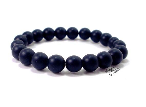 Mens gift for him Matte Black onyx bracelet Mens bracelet Healing stones jewelry Beaded bracelet Black onyx jewelry Mens jewelry