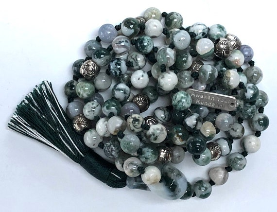 AAA Grade Genuine Green Tree Agate Beads Mala, Healing Yoga Necklace, Heart Chakra  Mala Creates a peaceful environment, Achieving Goals