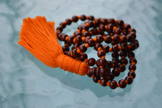 Rosewood Red Sandalwood mala beads necklace Hand Knotted Buddhist Tibetan 108 Prayer Beads For Healing Meditation Mantra Chanting