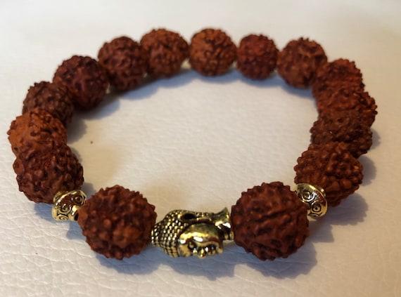 Rudraksh beads, Rudraksha, Budha, silver, Wrist Mala Beads, Healing Bracelet - Meditation mala, Energized with Hindu Vedic Mantras