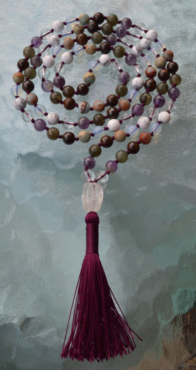 Enlightenment Crown Chakra Mala Seventh Chakra Rosary Divine Peace Oneness Hand knotted 108 Beads Necklace Cosmic Connection