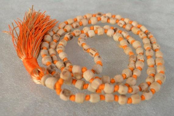 Tulsi Holy Basil 6mm Prayer Beads Hand Knotted Mala Necklace - Energized Karma Nirvana Meditation 108 Beads For Awakening Chakra Kundalini