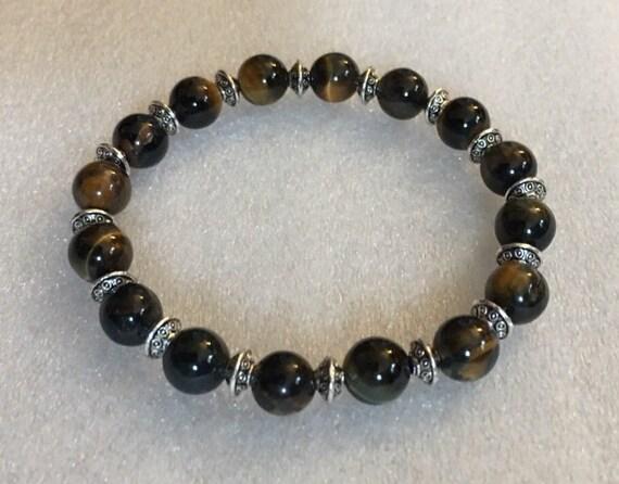 8 mm Tiger Eye Wrist Mala Beads Healing Bracelet - Blessed & Energized Karma Nirvana Meditation Prayer Beads For Awakening Chakra Kundal
