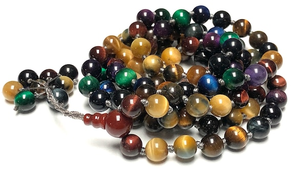 Energized, Blessed Rare & Powerful Blue, Black, Grey, Green, Miracle, Purple, Red, Brown, Golden Tiger's Eye, Hand knotted Mala beads Neckl