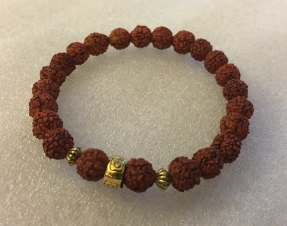 Handmade Rudraksha Mala Beads Bracelet, Small Shiva Tears: Genuine Rudraksha Beads, Rudrakash Bracelet, Natural Indian Rudraksha Jewelry