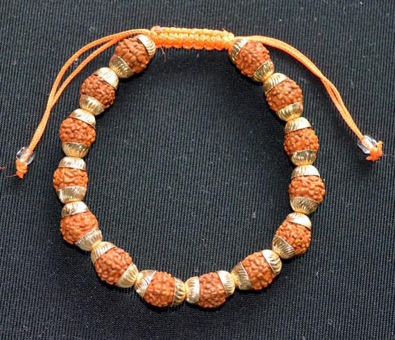 Rudraksh beads Rudraksha bracelet 6 mm w/ golden caps, hand knotted shamballa bracelet, Adjustable Healing Bracelet - Blessed & Energize