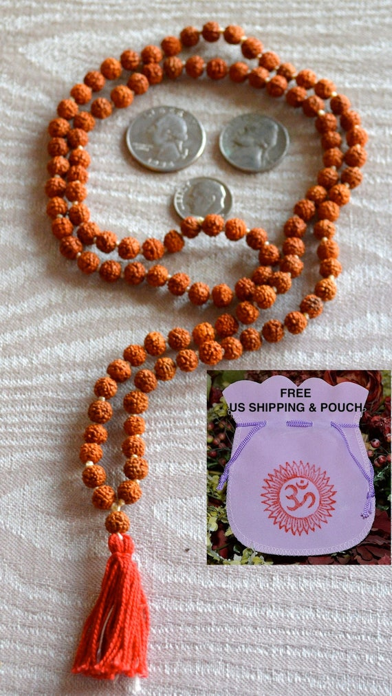 Hand Knotted Rudraksha Mala Beads,Small Shiva Tears: 8 mm Rudraksha Beads, 108 Rudrakash Necklace, Natural Indian Seeds, Buddhist Jewelry