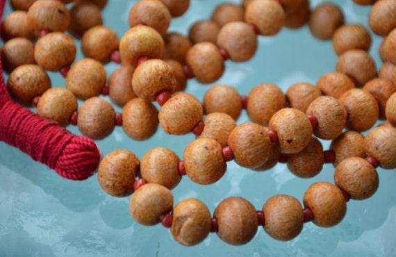 108 Wooden Hand Knotted Mala Beads Necklace -Blessed Karma Nirvana Meditation 8mm Prayer Beads For Awakening Chakra KundaliniChristmas