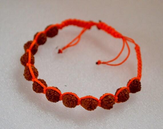 Rudraksh beads, Rudraksha, 6 mm, hand knotted, shamballa bracelet, Mala Beads, Adjustable, Healing Bracelet - Blessed & Energized