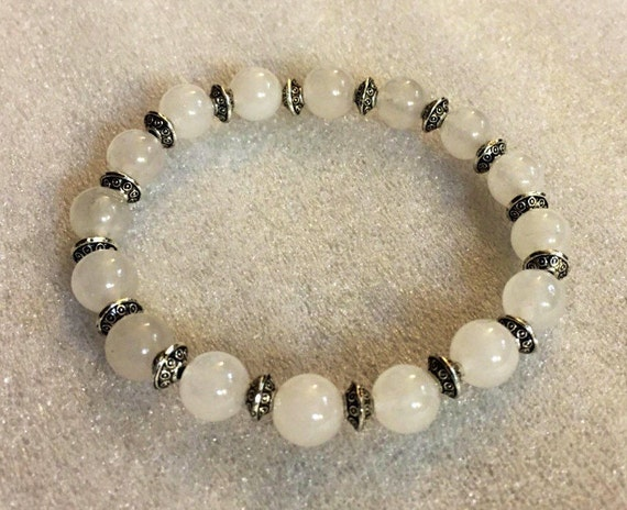 8mm Silver & White Jade Wrist Mala Beads Healing Bracelet - Blessed Karma Nirvana Meditation Prayer Beads For Awakening Chakra Kundalini