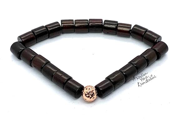 Brown Red Wood Bead Bracelet, Rose Wood Beaded Bracelet, Wood Stacking Bracelet, Mens Beaded Bracelet, Womens Bead Bracelet, Wooden Bead