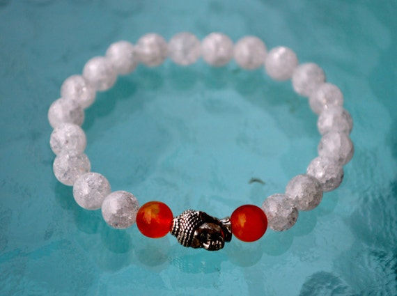 Cyber Monday Sale 8mm Crystal Quartz Himalyan Ice with Carnelian Budha Prayer Beads Handmade Bracelet