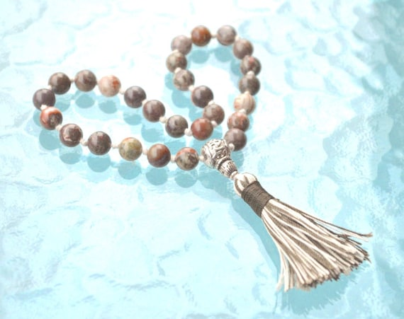 Picture Jasper Quarter Knotted Mala Beads Necklace Quit Smoking, Clear toxins, Stimulates Immune system, alleviate fear, connecting to earth