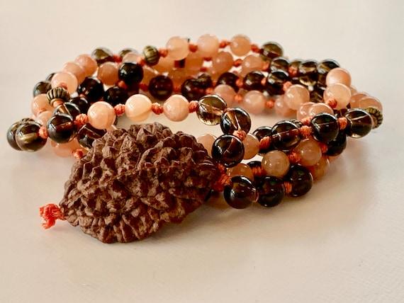 AAA Grade Genuine Smoky Quartz, 2 Mukhi Rudraksha & Sunstone Mala Beads Necklace, 108 Peach and Brown Mala beads, 6 mm, 8 mm, Energized