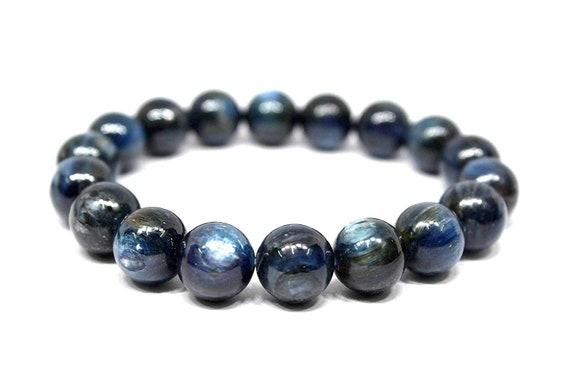 Energized 12 mm Kyanite Bracelet AAA Grade kyanite Brazil kyanite cabochons beaded bracelet natural kyanite jewelry throat chakra stones