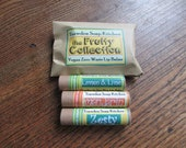 The fruity Collection, Set of three Vegan Soy Wax Lip butters, Zero Waste Compostible Cardboard Tubes