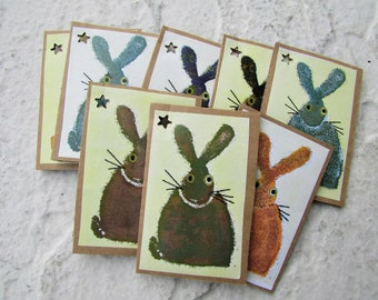 Multi Coloured Bunny Tags, Hand crafted Gift Tags, set of 8, Rustic Gift Wrap