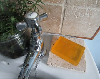 Natural stone rustic soap tray, Made from repurposed travertine & cork tiles