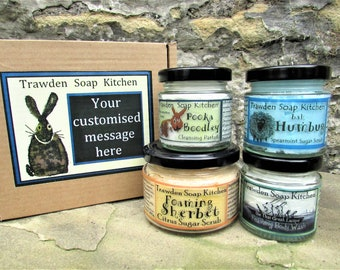 Personalised ! Luxury Sugar Scrubs and Body Washes Collection for any occasion. Eco friendly Gift Set.  Handmade by Trawden Soap Kitchen