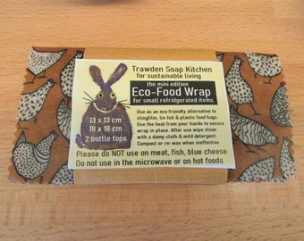 Beeswax Food Wraps, Hen Pattern,  Eco-Wrap mini Set for small  fridge items  Zero Waste Household, Sustainable gifts. Lancashire, UK